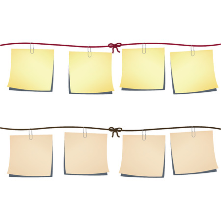 Set of note-papers on the rope