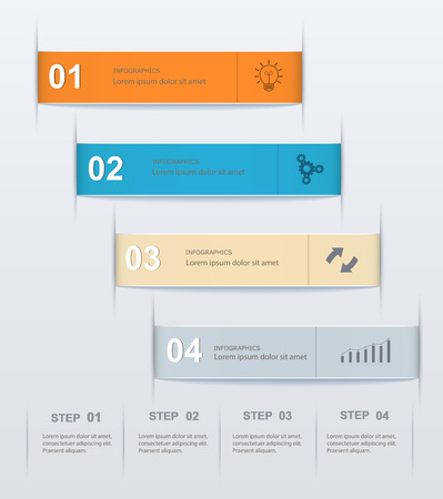 Stepwise numeric template infographic  Modern design of infographics, presentations, reports, web design elements Illustration