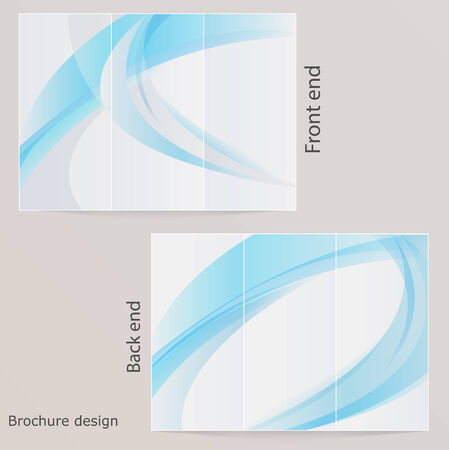 Layout triple brochure  Design with blue by waves Vector