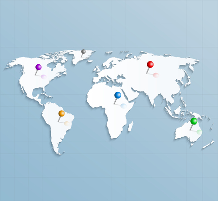 Paper strategic map of the world with colorful pins