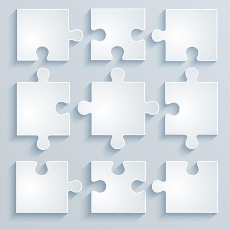 piezas de rompecabezas: Piezas de rompecabezas de papel Concepto de negocio, plantilla, diseño, infografía Vectores
