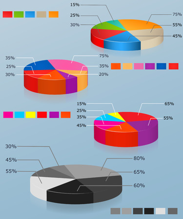 Pie charts  Set of of multi-colored pie chart  Business infographics Illustration