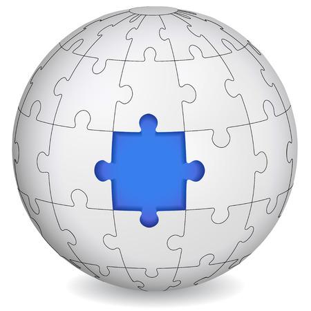 blau wei�: Puzzle Land mit blauem Mitte Business-Konzept Illustration