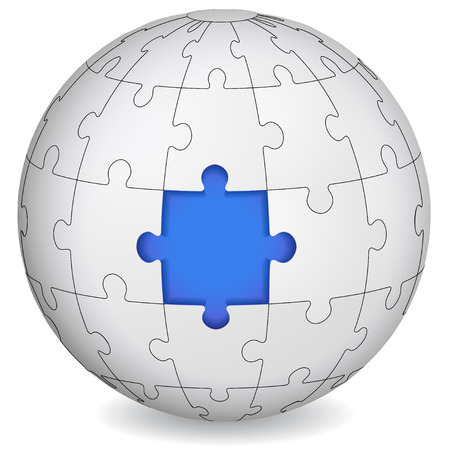 globe puzzle: Puzzle land with blue the middle  Business concept