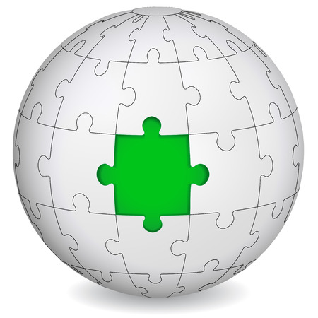 Puzzle land with green the middle  Business concept  Vector