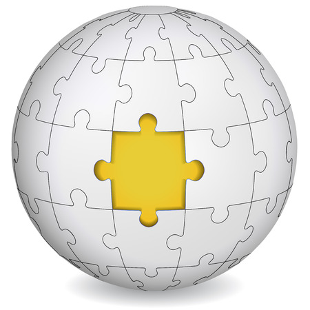 Puzzle land with yellow the middle  Business concept