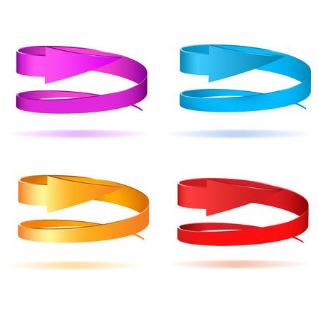 Set of circular 3d arrows  Vector