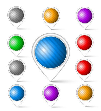 navigational: Set of colorful markers  Navigational map markers Illustration