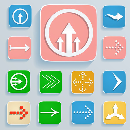 simplistic icon: Set of white arrows on the square buttons Illustration
