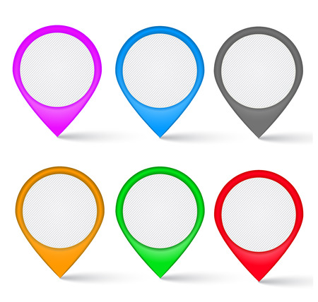 Set of multi-colored the map markers  Navigational markers