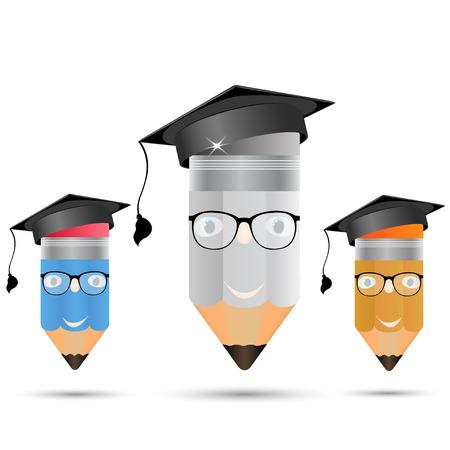 alumni: Conjunto de l�pices en copas La imagen de los profesores o ex alumnos Vectores