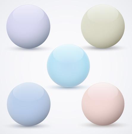 Set of spheres on a white background  Vector illustration