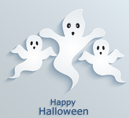Halloween poster with ghosts  Paper design  Illustration