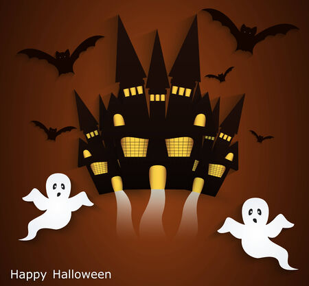 haunted house: Halloween background with scary ghosts  Festive poster or postcard Illustration