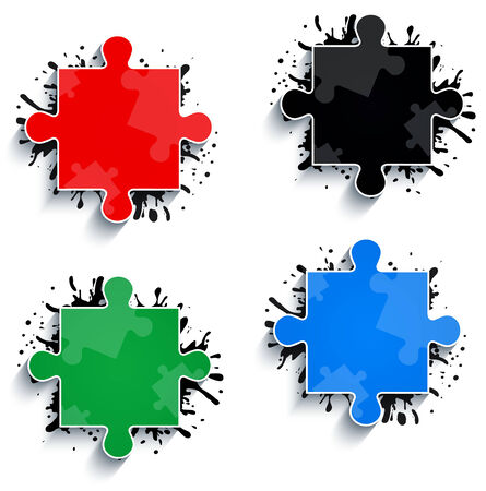 Parts of multicolored puzzles   Vector
