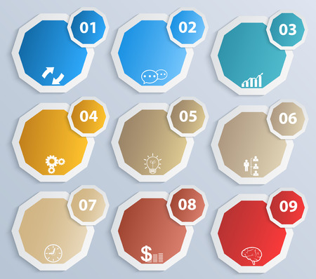 Paper circles with icons Vector