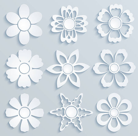 clippings: Paper flowers.  Set of paper ornaments Illustration