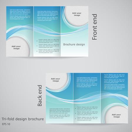Diseño de la plantilla folleto Folleto de diseño de tres pliegues con azul y blanco Vectores