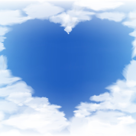 Blue sky with clouds in the form of heart