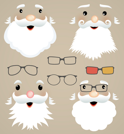 Set of Christmas masks  Santa Claus, glasses, hipster style  Vector