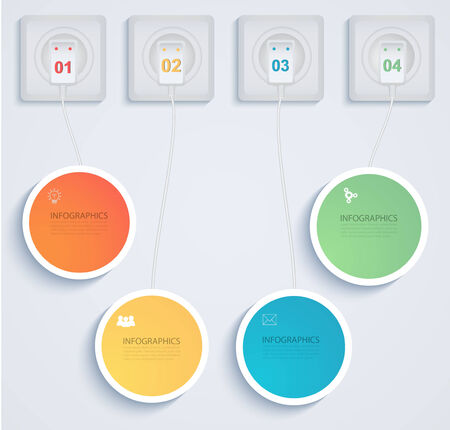 numbered: Paper circles with connection.  Business Presentation tab   Illustration
