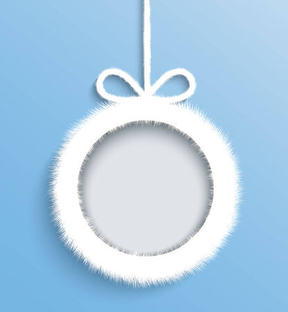 Christmas frame  White Paper decoration with a bow