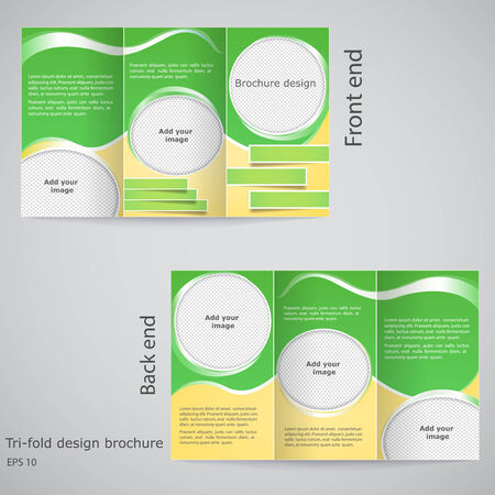 Tri-fold brochure design.  Brochure template design  with yellow and green Illustration