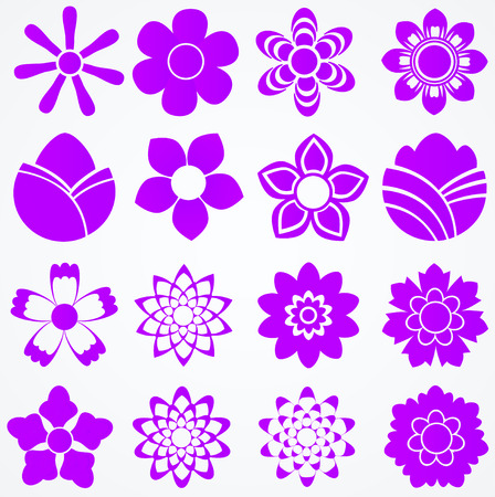 Set of flowers  Floral vector icons