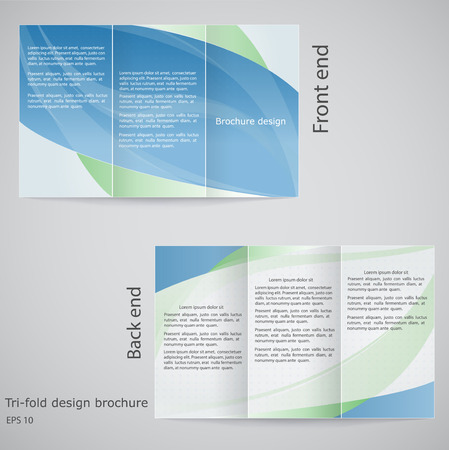 Tri-fold brochure design.  Brochure template design in shades of blue and green Vector