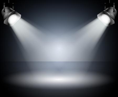 스포트 라이트 스튜디오와 함께 어두운 배경 일러스트
