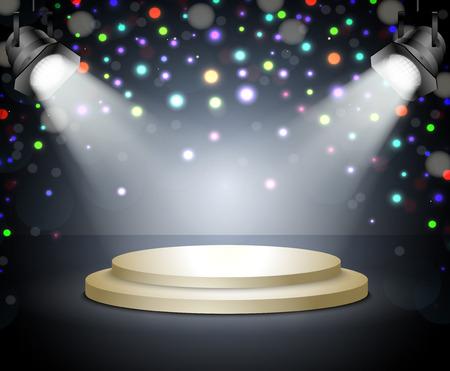 Podium met licht Stage met spots op een donkere achtergrond Stock Illustratie
