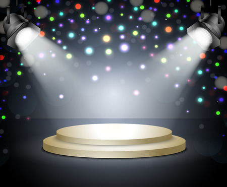 Podium with light  Stage with spotlights on a dark background Vector