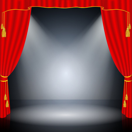 Red curtain on black background Illustration