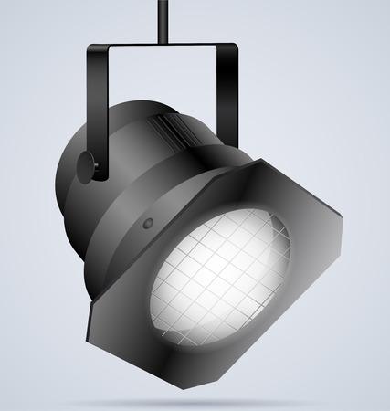 Black spotlight on light background