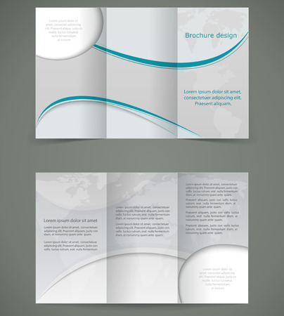 Vector silver brochure layout Design, business three fold flyer template
