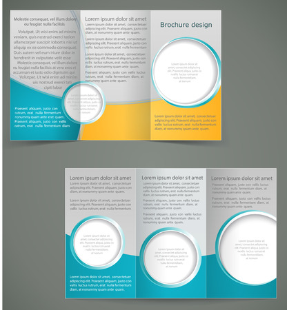 Vector green brochure layout design with yellow elements, business three fold flyer template