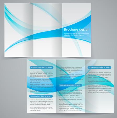 삼중 비즈니스 브로슈어 서식, 벡터 파란색 디자인 전단지 일러스트