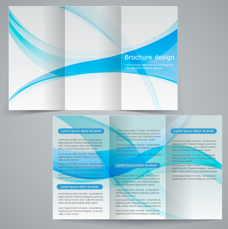 catalogue: Tri-fold business brochure template, vector blue design flyer