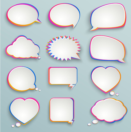 inked: Paper speech bubbles, colorful painting, abstract elements of infographics, forms of clouds, heart Illustration
