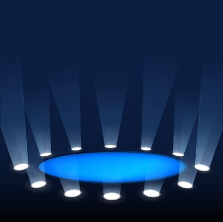 어두운 배경에 빛의 광선 스포트 라이트에 의해 조명 장면