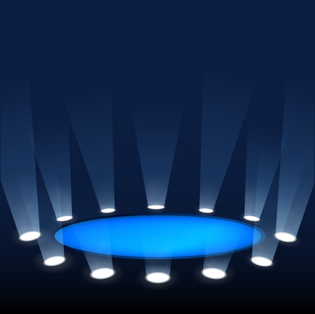Scene illuminated by spotlights  Rays of light on a dark background