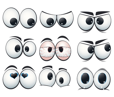 evil eye: Cartoon expression eyes with different views