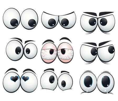 ojos tristes: Expresión Cartoon ojos con diferentes puntos de vista Vectores