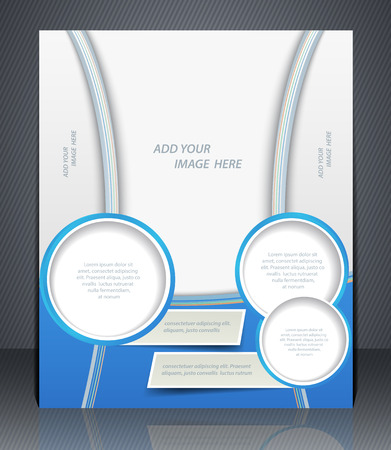 Vector layout business flyer, magazine cover, or corporate design template advertisment, blue color  Illustration