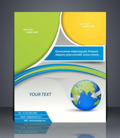 catalogs: Vector layout business flyer with world map, magazine cover, template or corporate banner design in blue and green colors