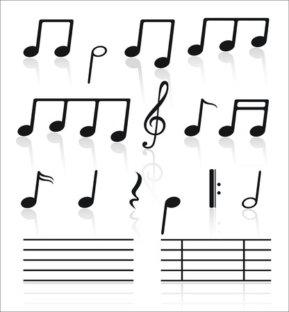 in tune: Music icons set of notes