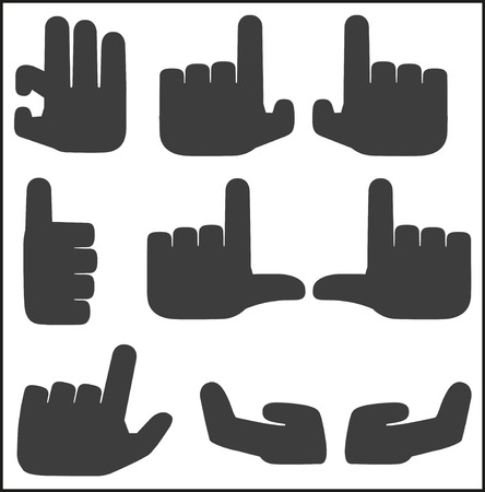 Hands icons set black pointers  Vector