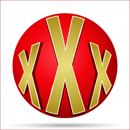 xxx icon in the form of a red ball Vector