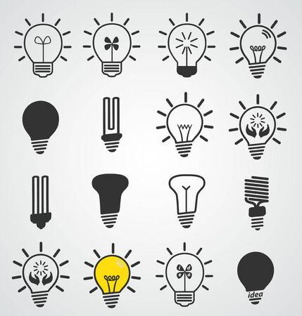 Light bulb icon, art vector set of business concepts, idea