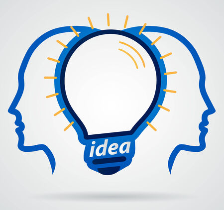 intuition: Thinking head lamp illuminating brain, unity of thought, new idea